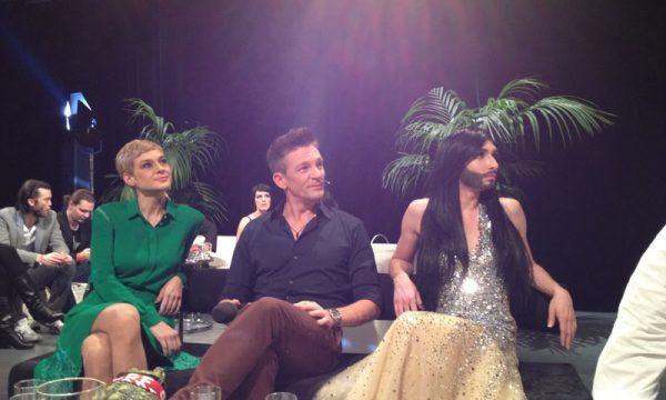 Avec Conchita Wurst lors de la finale nationale de l'eurovision sur ORF1